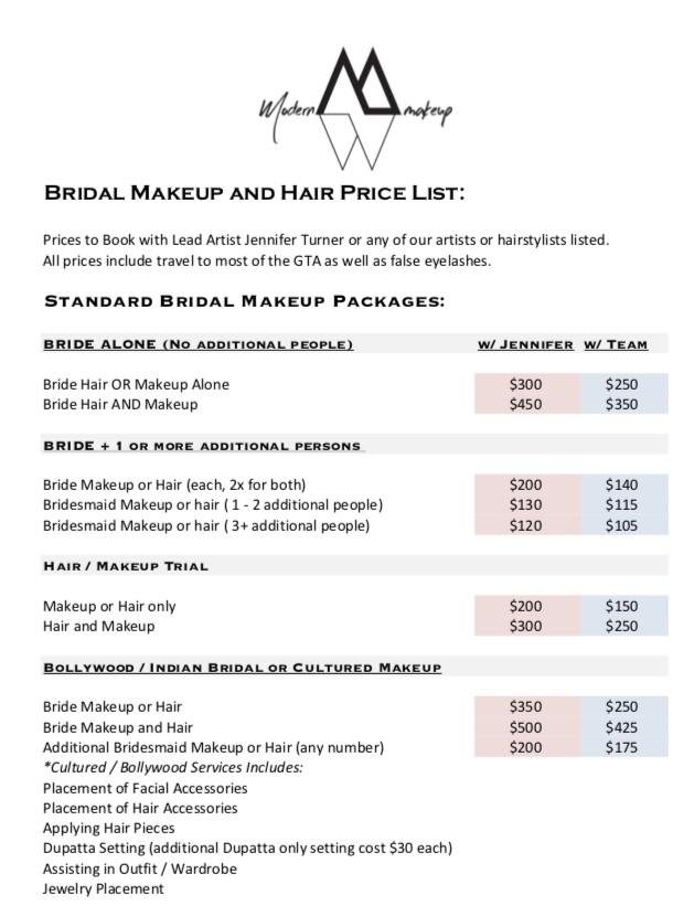 Bridal Makeup Prices: