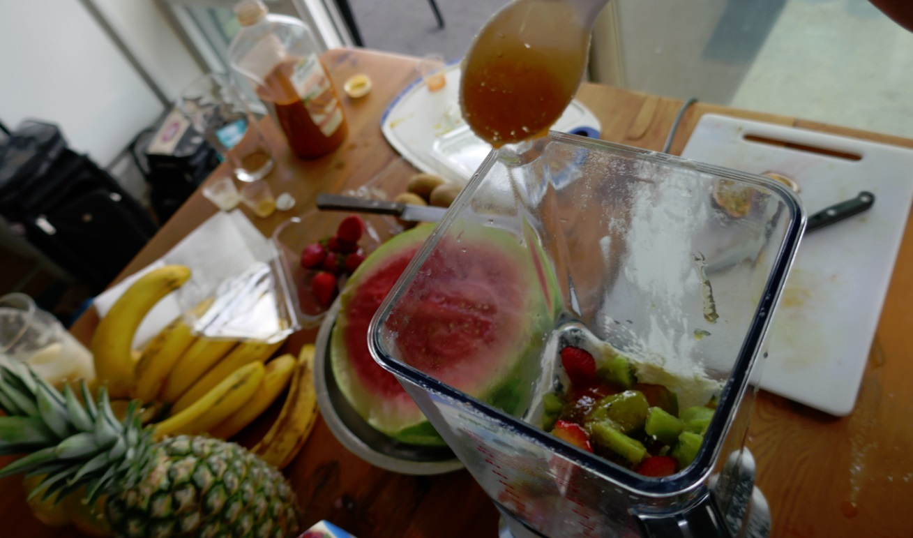 fruit in blender with egg white powder for smoothies